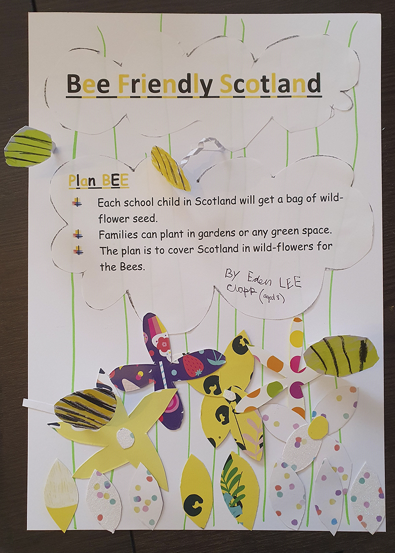Poster to promote Bee friendly flower planting in Scotland