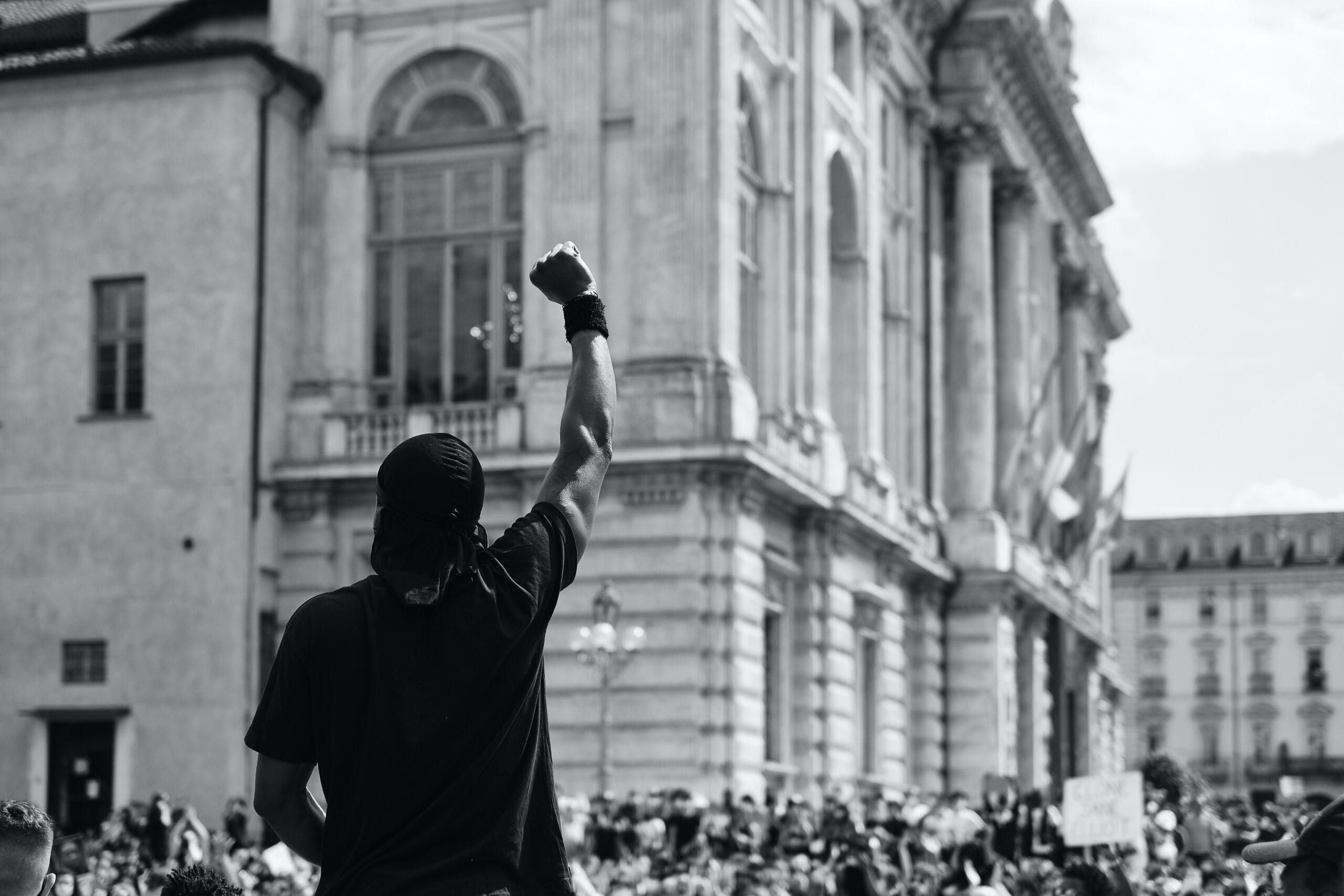 Man at Black Lives Matter protest